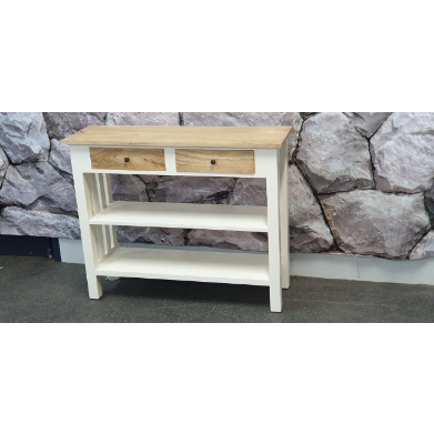 HALL TABLE ( Solid Mindi - Two Drawers - White and Wood colour)