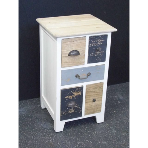MINDI AND PLY WOOD BED SIDE TABLE ( 2 PCS - 5 Multi coloured drawers - White sides)