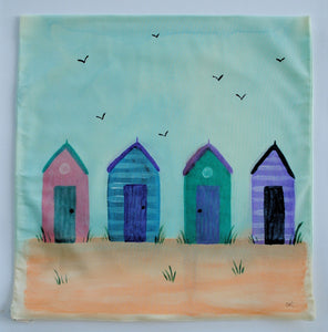 Beach Huts Handpainted Cushion