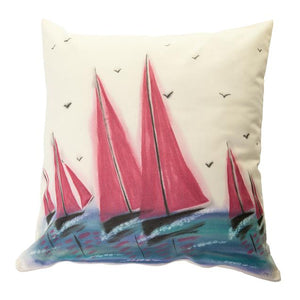 Red Sails Handpainted Cushion