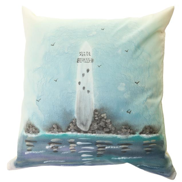 Fastnet Lighthouse Handpainted Cushion