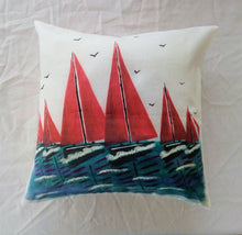 Load image into Gallery viewer, Red Sails Linen Cushion