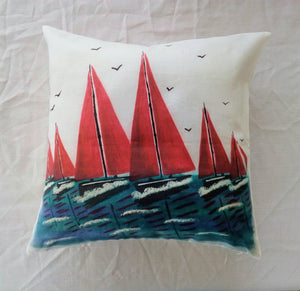 Red Sails Linen Cushion
