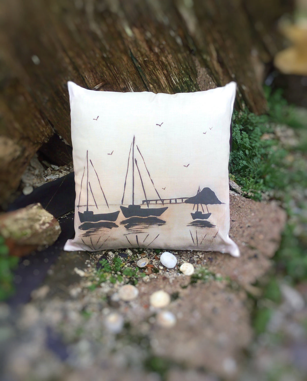 Sunset Boats (Orange) Linen Cushion