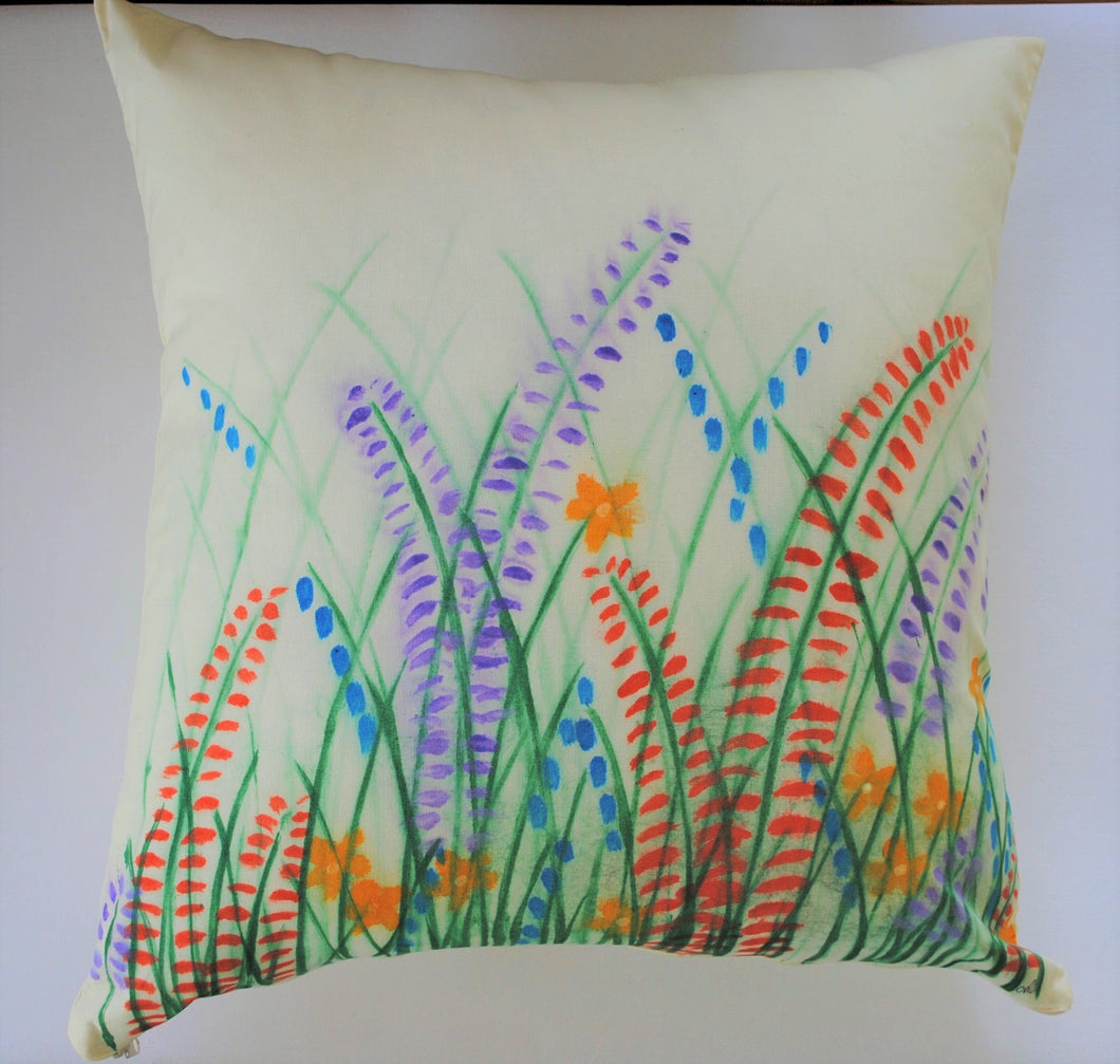 Field of Flowers Handpainted Cushion
