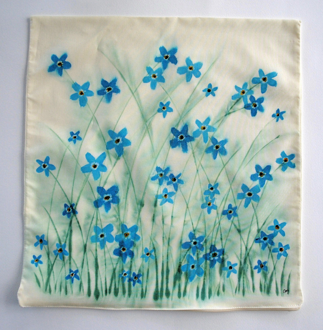Forget-me-not Handpainted Cushion