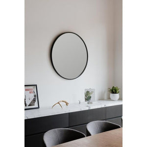 "Hub 24"" Round Black Framed Wall Mirror K7365"