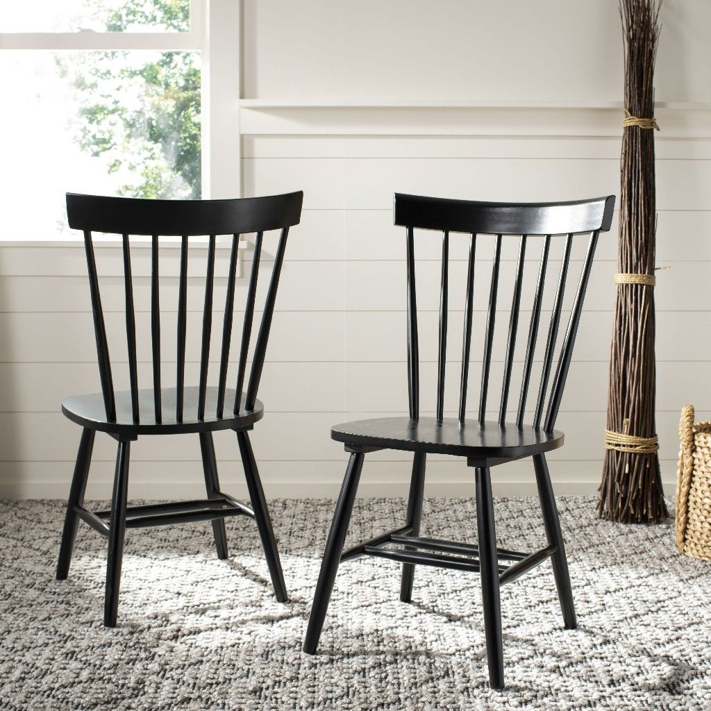 Set of 2 - Riley Wood Dining Chairs, Black (#K2638)