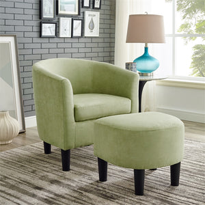 Camilla Barrel Chair and Ottoman, Green Microfiber (#K2527)