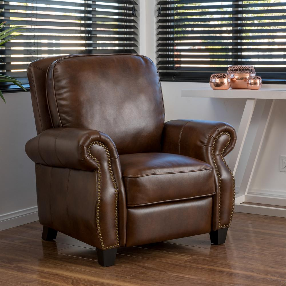 Neville 2-Tone Brown PU Leather Recliner #CR2100