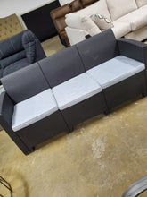 Load image into Gallery viewer, Dark Gray Faux Rattan Sofa With All-Weather Light Gray Cushions