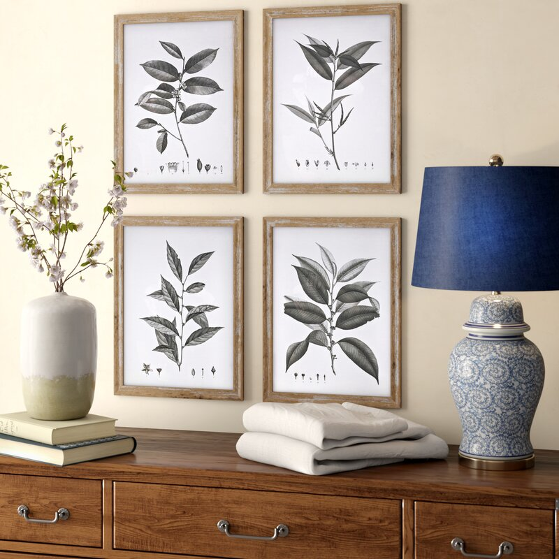 'Aba Botanical Wall Decor' 4 Piece Picture Frame Graphic Art Set #HA16