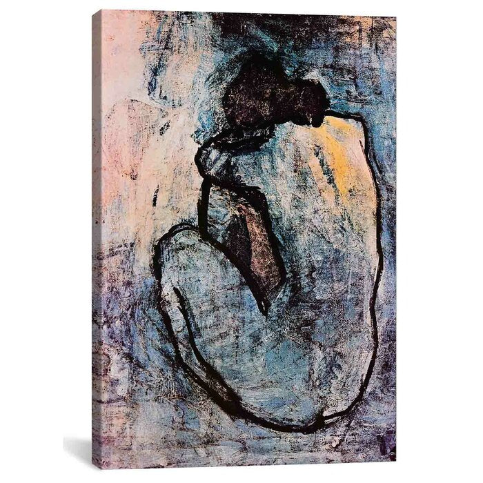'Blue Nude' by Pablo Picasso - One Piece Wrapped Canvas Painting Print