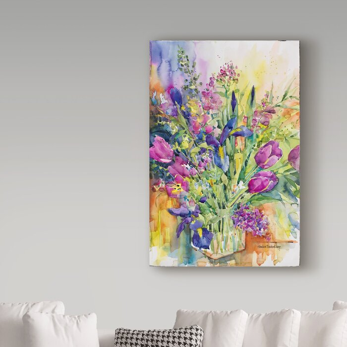 'Iris Blue and Tulips Too' Watercolor Painting Print on Wrapped Canvas LX5692