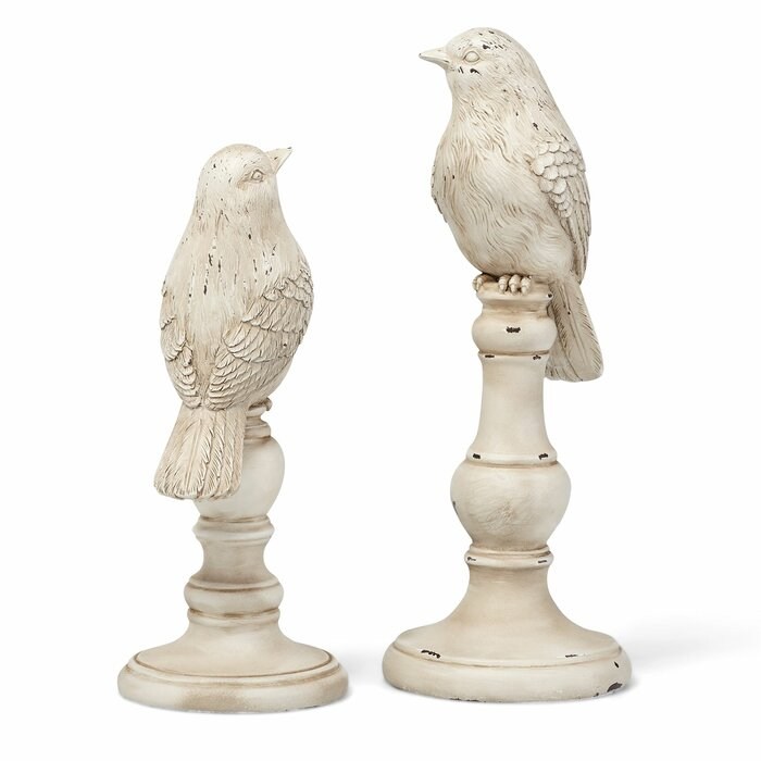 2 Piece Bird Figurine Set in Antique White (#HA536)
