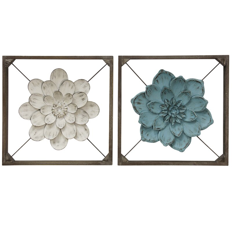 2 Piece Box Framed Metal Flower Wall Décor Set 2286