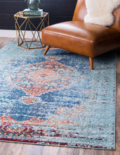 "Load image into Gallery viewer, Turquoise Blue/Grey Arte 9'10"" x 13' Area Rug #131R"