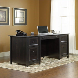 Sauder Edge Water Engineered Wood Executive Desk in Estate Black TTR525