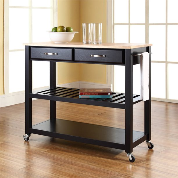 Crosley Natural Wood Top Rolling Kitchen Cart, Black #HA494