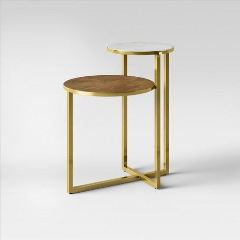 Mixed Material Marble and Metal Accent Table