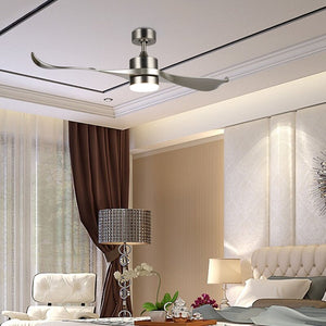 "Brushed Nickel 52"" Minnetrista 2 Blade LED Ceiling Fan with Remote, Light Kit Included 7386"