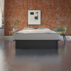 King Size Platform bed, Grey Linen  #CR2102