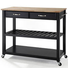 Load image into Gallery viewer, Crosley Natural Wood Top Rolling Kitchen Cart, Black #HA494