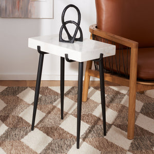 Yuki Stone Top Accent Table, Black (#K2606)