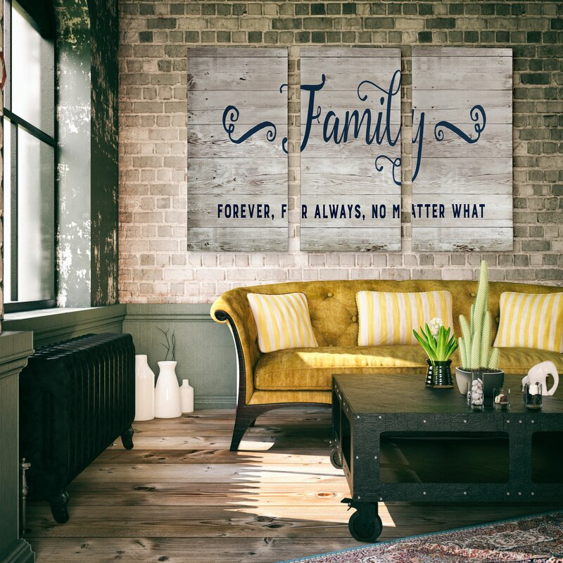 A Premium 'Family Forever For Always' Textual Art Multi-Piece Image on Canvas