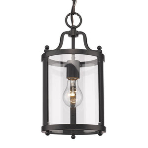 Aarav 1-Light Lantern Cylinder Pendant, Black (#827)