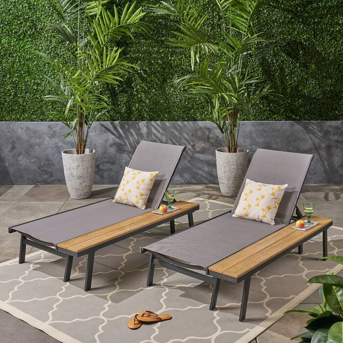 Set of 2 - Achillee Sun Lounger Set with Table (#755)
