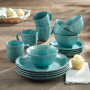 Annabelle 16 Piece Dinnerware Set, Aqua Blue (#K2615)