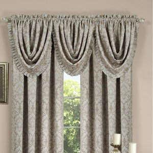 "Beauvale Pleated Waterfall 48"" Window Valance (Set of 4) EE1079"
