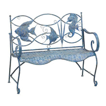 Load image into Gallery viewer, Brynne Blue Fish Metal Garden Bench 2320