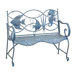 Brynne Blue Fish Metal Garden Bench 2320