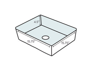 Ceramic Square Vessel Bathroom Sink (#K2411)