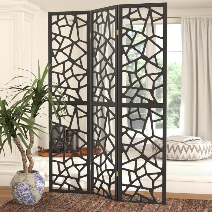 Charlayne 3 Panel Room Divider, Stark Black (#5)