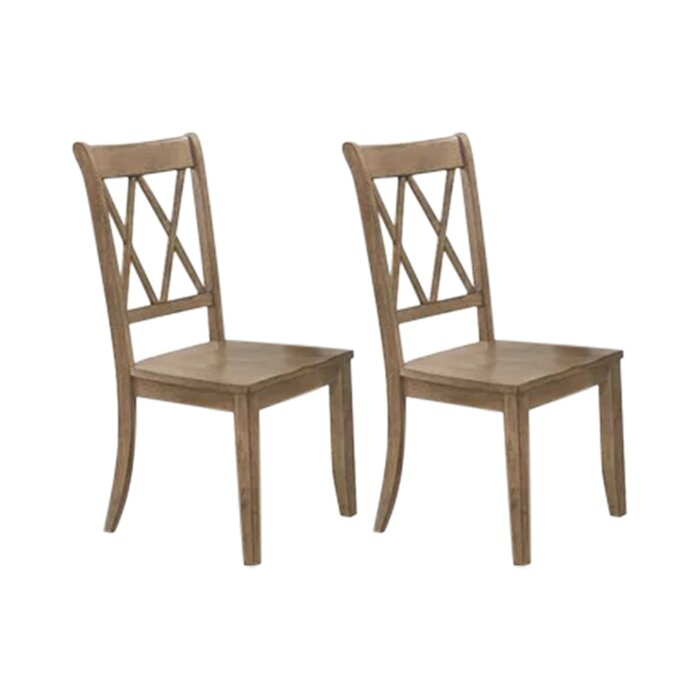 Set of 2 - Cheryll Cross Back Side Dining Chairs, Brown (#867)