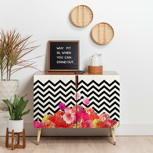 Chevron Floral 2 Door Accent Cabinet EJ691