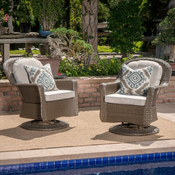 Set of 2 - Dearing Modern Wicker Swivel Club Patio Chairs with Cushions, Brown/Gray Cushions (#K2529)