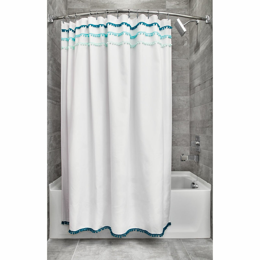 White/Blue Domingo Striped Single Shower Curtain TJ271