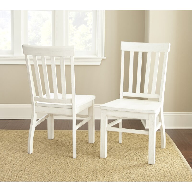 Antique White Duclos Solid Wood Slat Back Side Chair (Set of 2) PC124