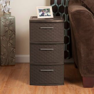 Sterilite 3 Drawer Medium Weave Tower Brown #8070