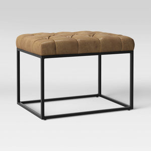 Trubeck Tufted Ottoman Faux Leather with Metal Base Brown 2002