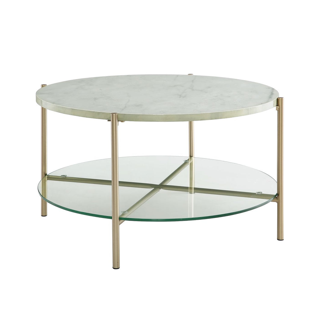 Round Modern Glam Coffee Table - #8485T