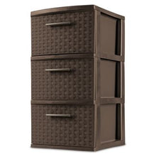 Load image into Gallery viewer, Sterilite 3 Drawer Medium Weave Tower Brown #8070