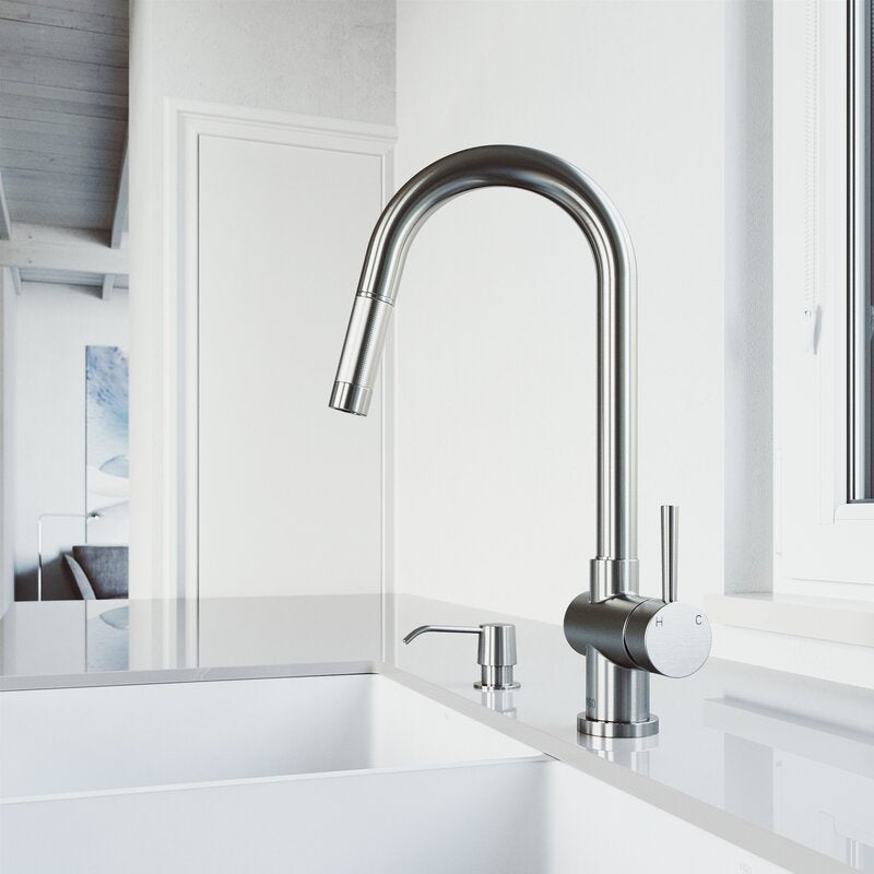 Gramercy Pull Down Single Handle Kitchen Faucet with Soap Dispenser, Stainless Steel (#737)