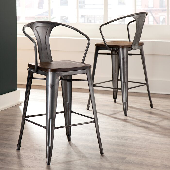 Set of 4 - Grasser Solid Wood 26.3 Counter Stools, Gunmetal/Walnut (#K2647)