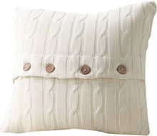 Load image into Gallery viewer, Set of 2 Cream Harrietstown Cable-Knit Cotton Throw Pillow 2366