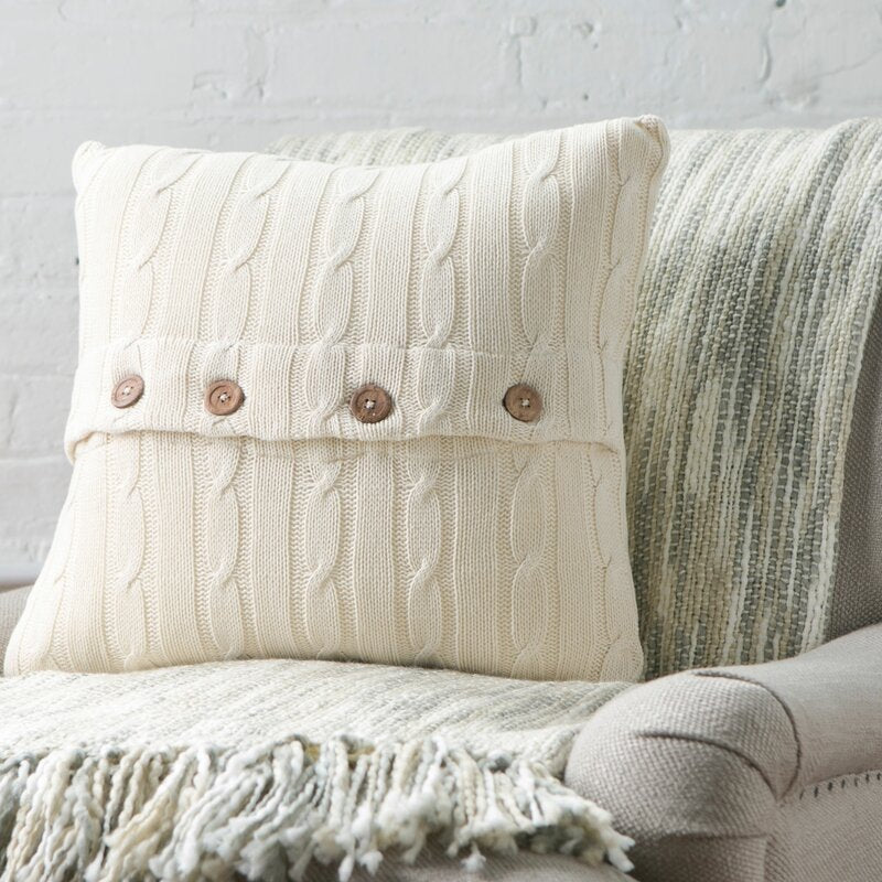 Set of 2 Cream Harrietstown Cable-Knit Cotton Throw Pillow 2366